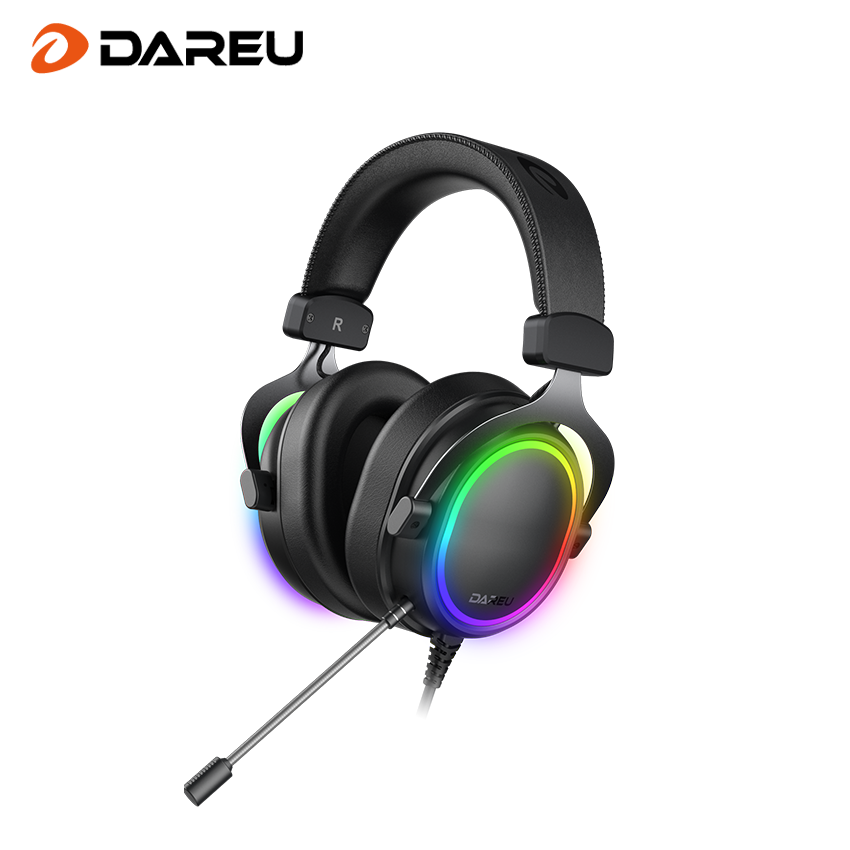 Dareu EH925/EH925S Wired Gaming Headset - 7.1 Surround Sound - Memory Foam Ear Pads - 53MM Drivers - Detachable Microphone - Multi Platforms Black Headphone - Works with PC, PS4/3 & Xbox One/Series X, NS