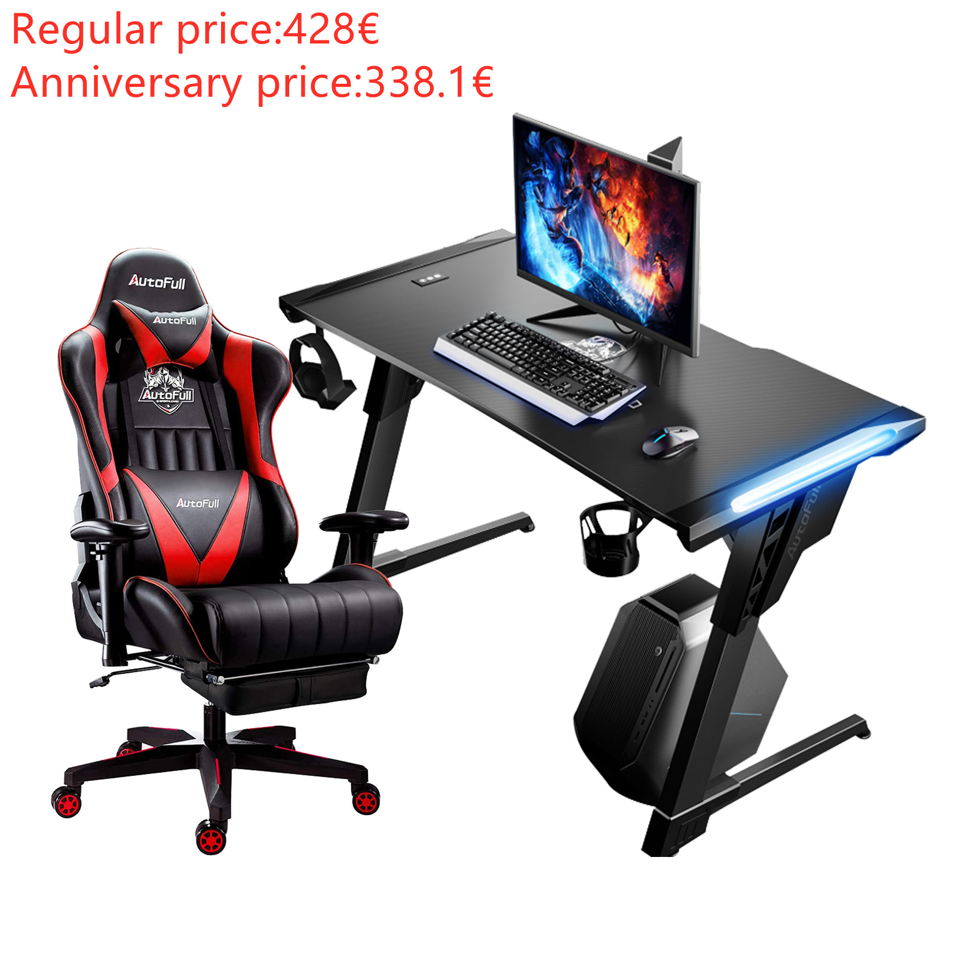 Autofull AF070DPUJ/BPUJ+AFDJZ004B Gaming Chair and Desk Combo