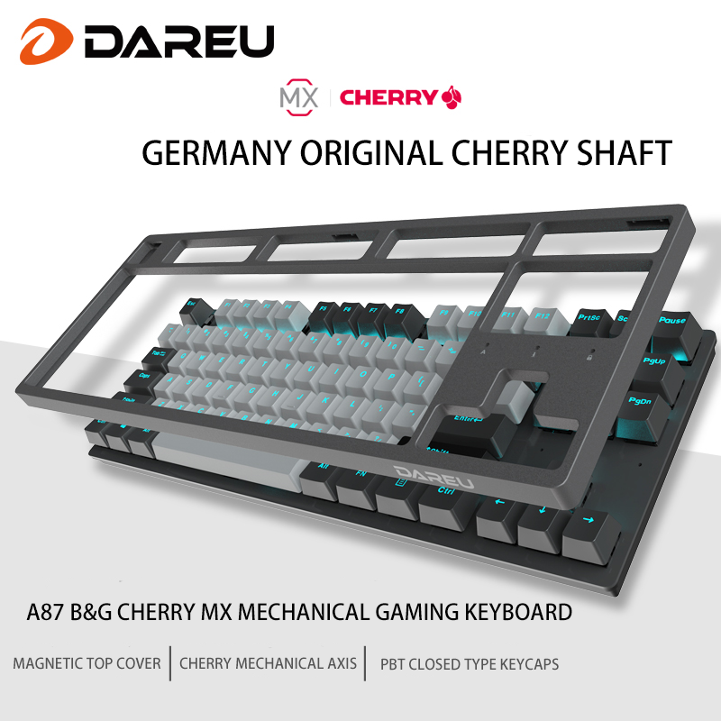 Dareu A87 B&G Cherry MX Axis Wired Mechanical Gaming Keyboard 87 Macro recording Keys N-Key Rollover Keypads with PBT Keycaps