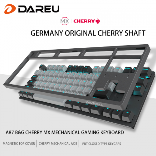 Official Dareu A87 B&G Cherry MX Axis Wired Mechanical Gaming Keyboard 87 Macro recording Keys N-Key Rollover Keypads with PBT Keycaps