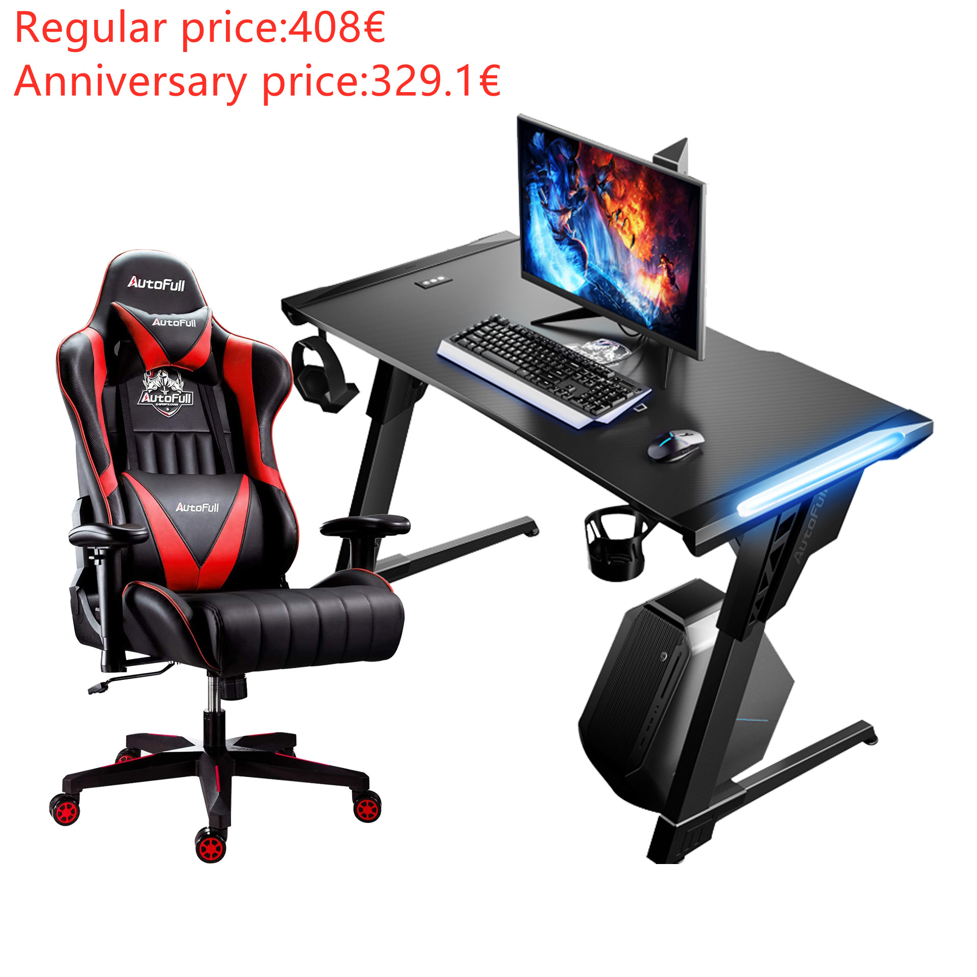 Autofull AF070DPU/BPU/UPU+AFDJZ004B Gaming Chair and Desk Combo