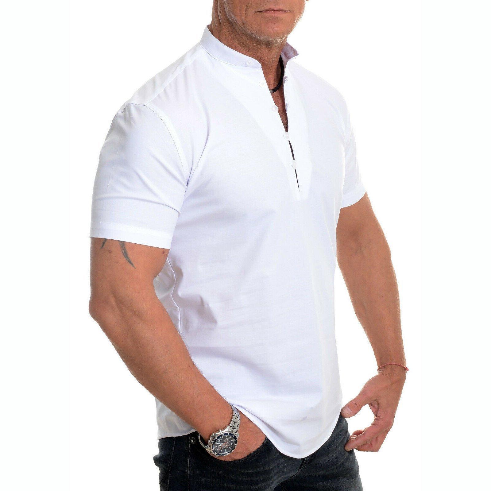 Men's Stand Collar Plain Button Summer Loose Shirt