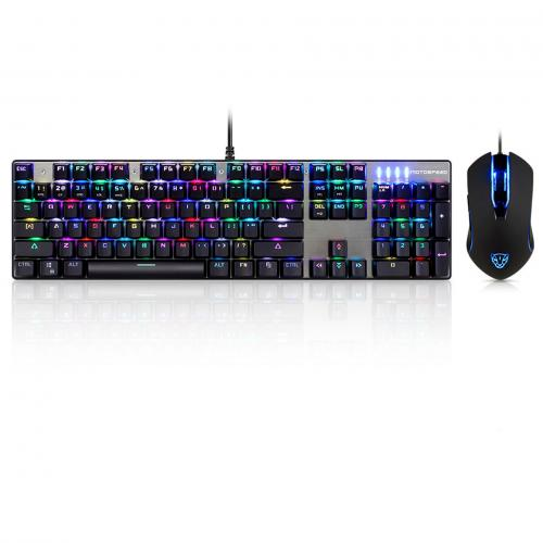 Official Motospeed CK888 NKRO Blue Switch 104Key Mechanical Gaming Keyboard and Mouse Combo