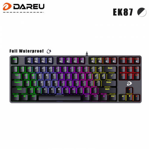 Official Dareu EK87 Wired Optical Switch Full Waterproof with N-Key Rollover Dynamic Rainbow Backlight Mechanical Keyboard