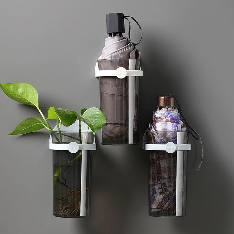 Bzfuture Wall-Mounted Flowerpot Home Decoration Multifunctional Umbrella Storage Rack Wall Shelf Room Organizer Bathroom