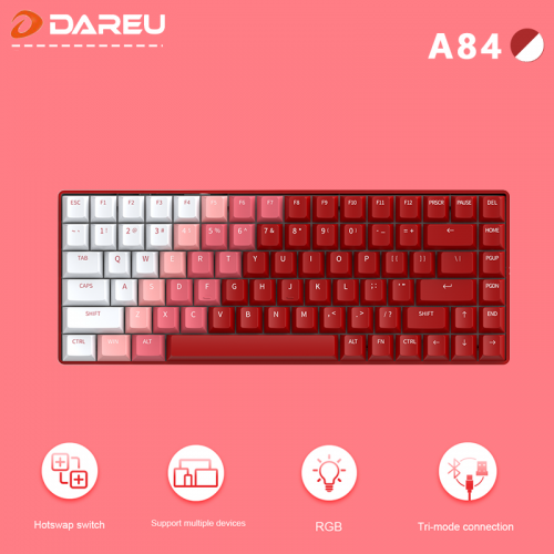 Official Dareu A84 Tri-mode Connection 100% Hotswap RGB LED Backlit Mechanical Gaming Keyboard With Customized TTC Flame Red Switch
