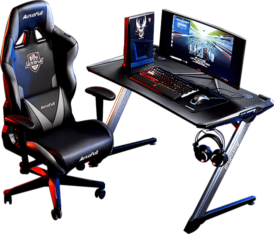AutoFull Black Knight Gaming Chair and desk setup