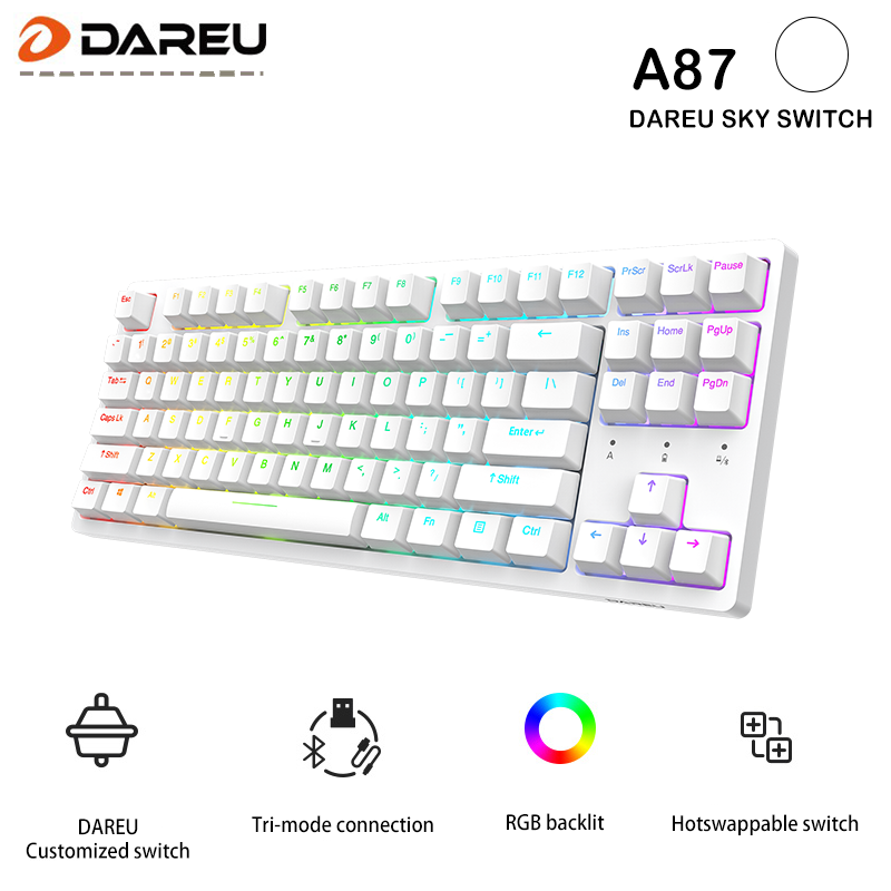 Dareu A87 Tri-mode Connection 100% Hotswap RGB LED Backlit Mechanical Gaming Keyboard With Customized Violet Gold or Sky Switch