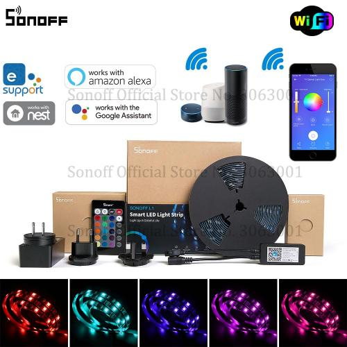 Official SONOFF L1 Smart LED Light Strip Dimmable Waterproof WiFi Flexible RGB Strip Lights