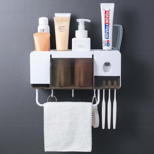 Official Wall Mount Dust-proof Toothbrush Holder With Cups