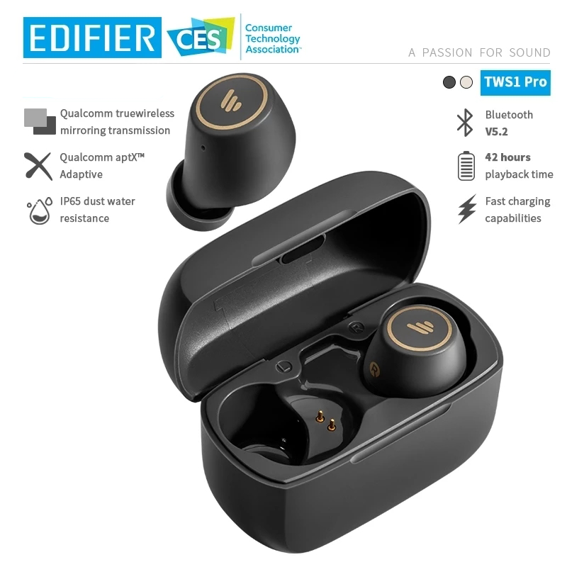 EDIFIER TWS1 Pro TWS Wireless Bluetooth Earphone aptX Bluetooth V5.2 up to 42hrs playback time Fast charging capabilities