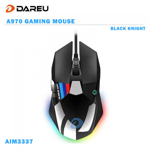 Official Dareu A970 Gaming Mouse  LED RGB Backlight Mice with AIM3337 18000 DPI 400IPS 12000FPS 50 Million Click Times Programmable Buttons