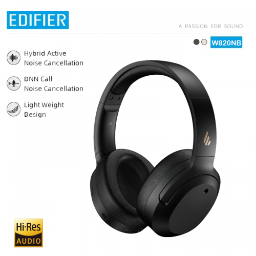 Official EDIFIER W820NB ANC Wireless Bluetooth Headphone Hi-Res Audio Bluetooth 5.0 40mm Driver Type-C Fast Charge Hybrid ANC