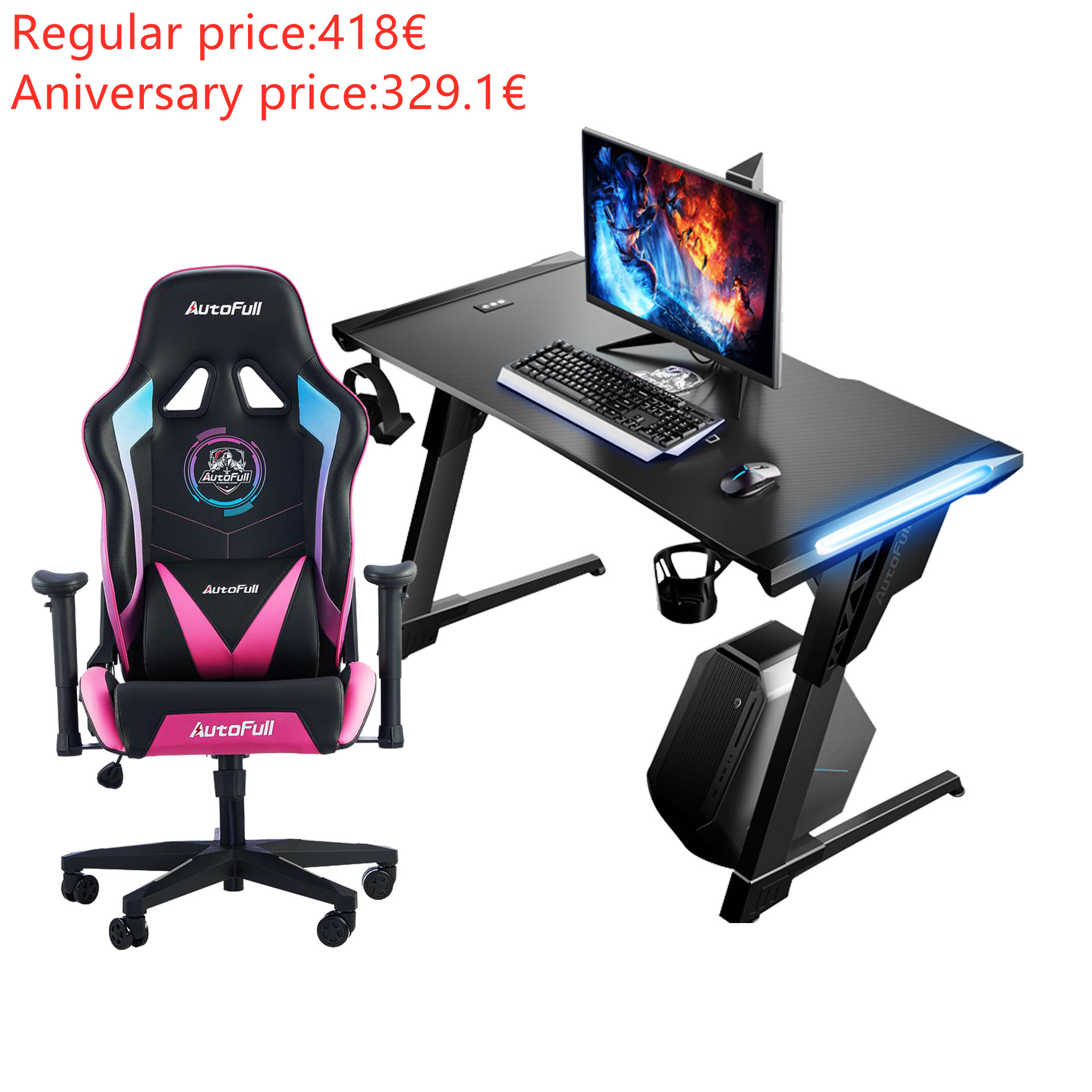Autofull AF075RPU+AFDJZ004B Gaming Chair and Desk Combo