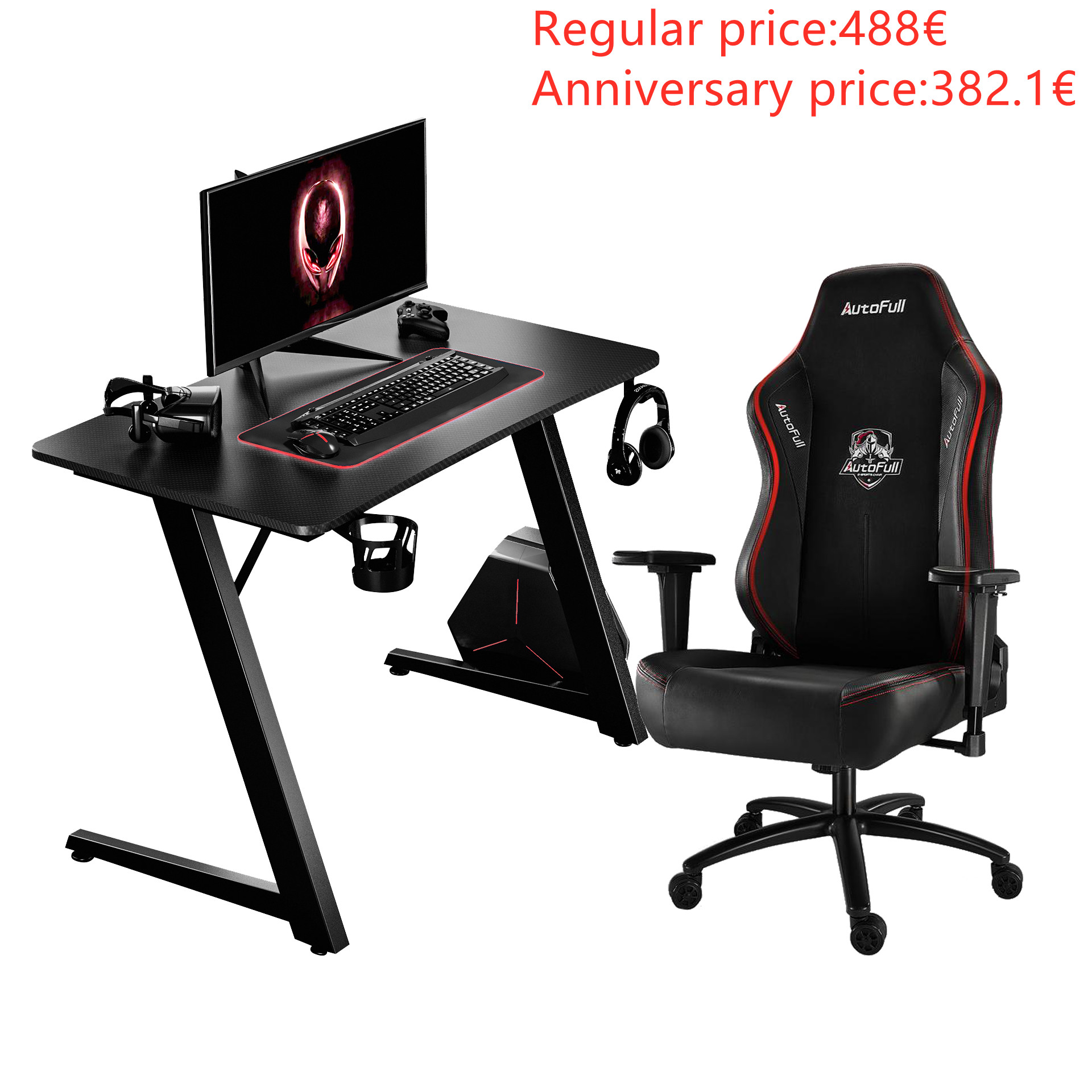 Autofull AF068DPU+AFDJZ004BL Gaming Chair and Desk Combo