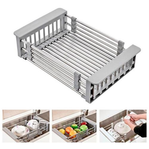Official BZfuture Stainless Steel Telescopic Sink Dish Drainers