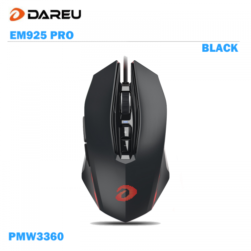 Official Dareu EM925 Pro Gaming Mouse LED RGB Backlight with PMW3360 12000DPI 250IPS 12000FPS 20 Million Click Times