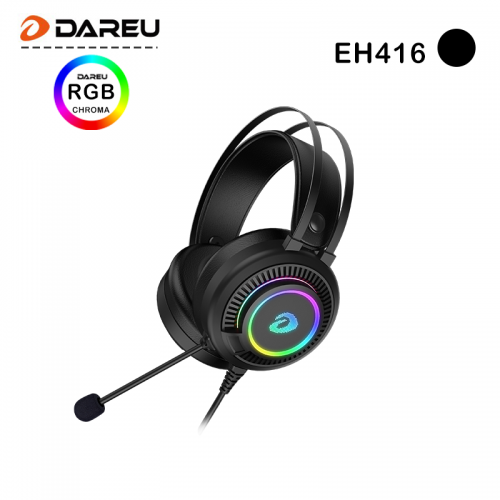 Official DAREU EH416 USB Gaming Headset with Microphone RGB Light 7.1 Surround Sound Noise Canceling Mic for PC Mac Laptop