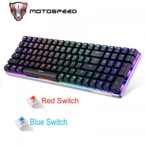 New Motospeed K1 Wireless&Wired Dual Mode 100 Keys RGB Backlight Ergonomics Mechanical Gaming Keyboard