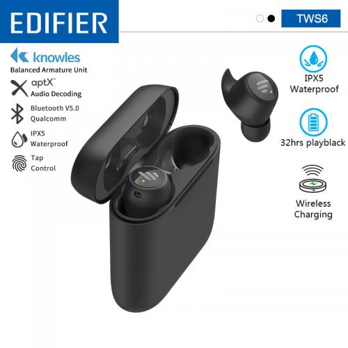Official EDIFIER TWS6 TWS Wireless Earbuds BluetoothV5.0 32hrs Play Time Support Aptx Touch control IPX5 Waterproof Wireless Charging