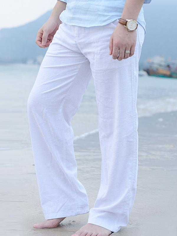 Men's casual cotton trousers loose linen pants