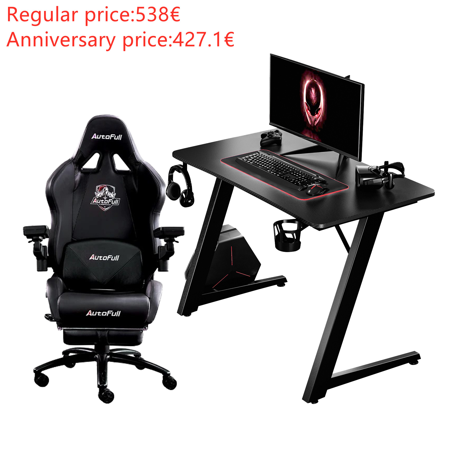 Autofull AF066DPUS+AFDJZ004BL Gaming Chair and Desk Combo