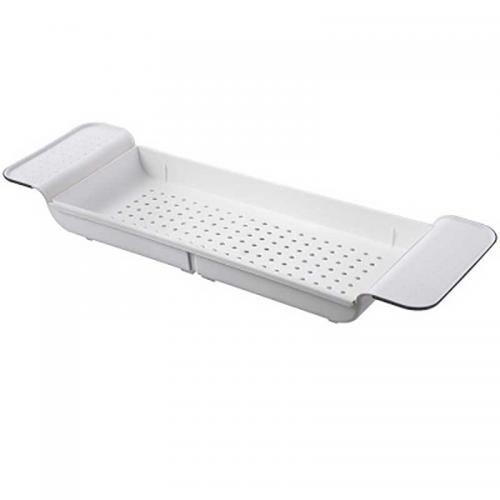 Retractable Bathtub Storage Rack Bathroom Drain Shelf Rectangular