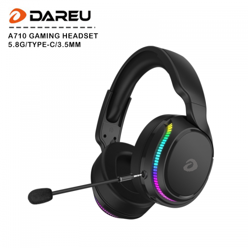 Official Dareu A710 5.8G Wireless Type-c 3.5mm Trimode Gaming Headset with RGB Backlit Detachable Mic Noise Cancellation