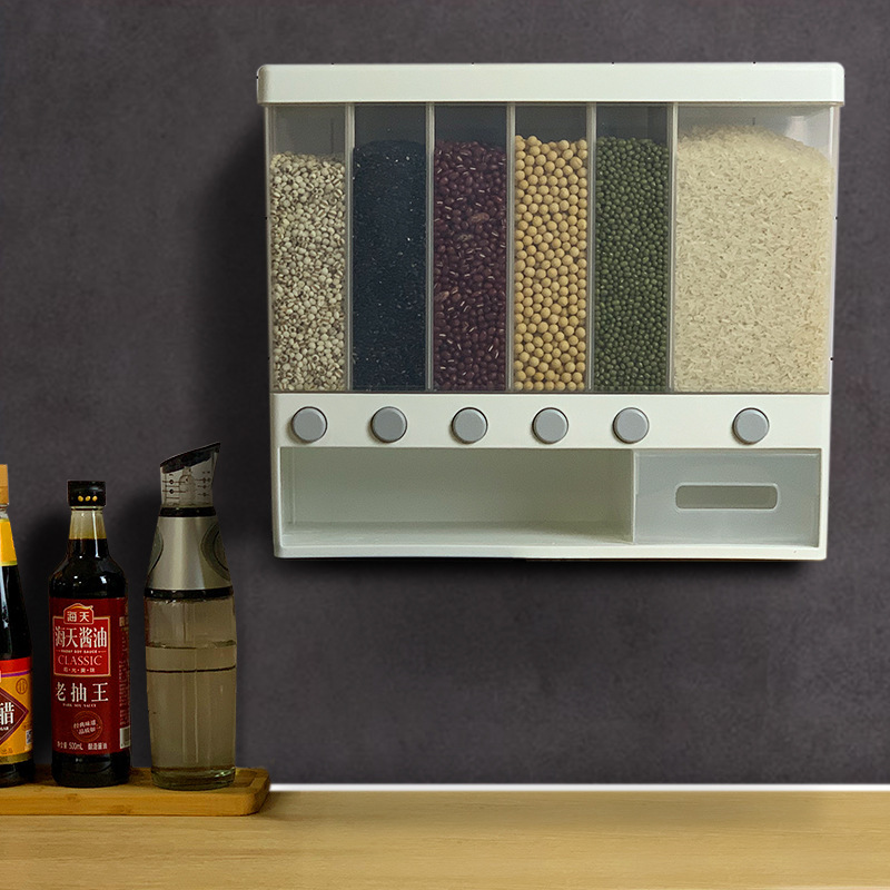 BZfuture Wall Mounted Divided Rice and Cereal Dispenser