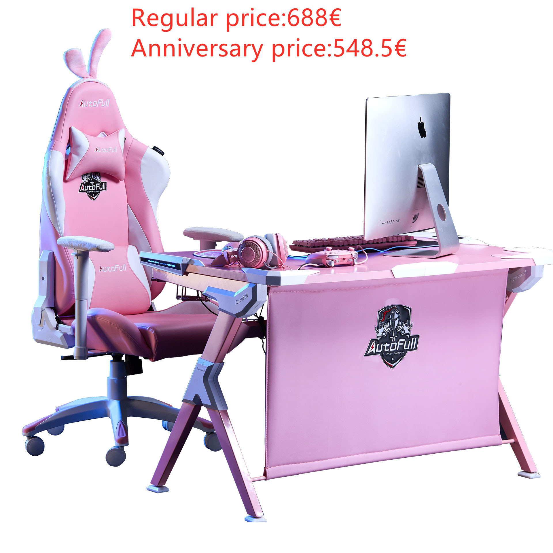 Autofull Cherry blossom snow gaming chair and desk Combo