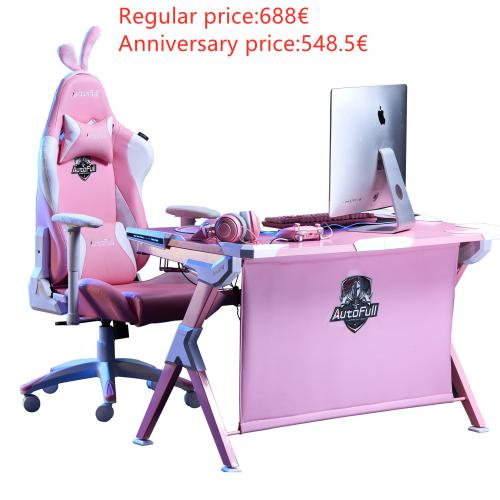 Official Autofull Cherry blossom snow gaming chair and desk Combo