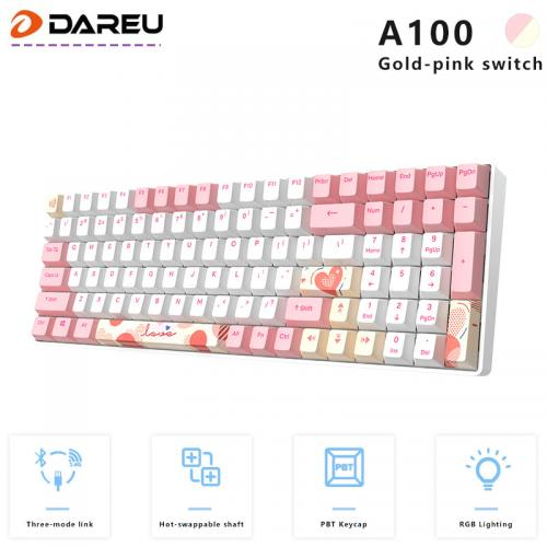 Dareu A100 Tri-mode Connection 100% Hotswap RGB LED Backlit PBT keycaps Mechanical Gaming Keyboard With TTC Gold-pink Switch