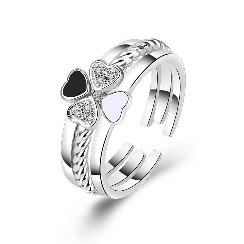 Adjustable Size Elegant Four Leaf Clover Ring 3-in-1