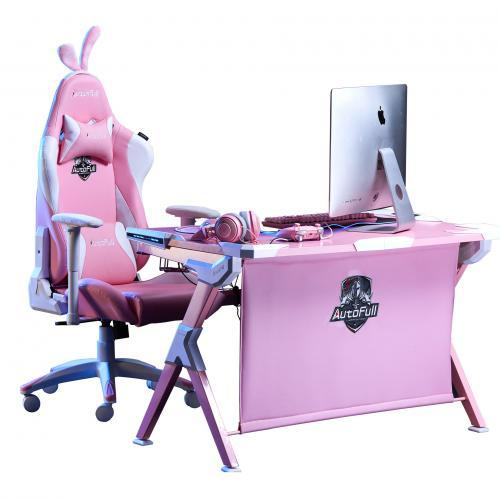 Autofull Cherry blossom snow gaming chair and computer desk Pack