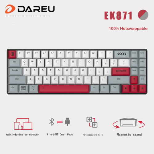 Official Dareu EK871 100% Hotswappable BT & Wired Dual Mode 71 Key  Mechanical Gaming Keyboard  for PC,Notebook,Tablet,Phone PBT Keycap Type-C