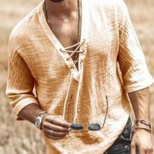 Men's Plain V-Neck Casual Loose Spring Shirt