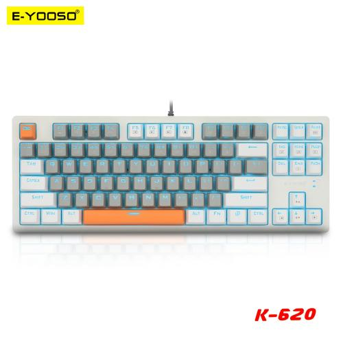 Official E-YOOSO K620 USB Mechanical Gaming Keyboard Blue Switch 87 Key Backlit