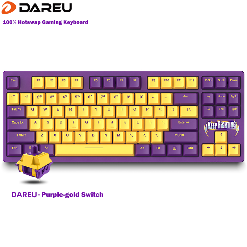 Dareu A87 100% Hotswap USB Wired RGB LED Backlit Mechanical Gaming Keyboard With Customized Purple-gold Switch Programable