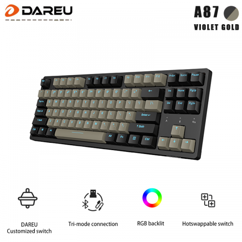 Official Dareu A87 Tri-mode Connection 100% Hotswap RGB LED Backlit Mechanical Gaming Keyboard With Customized Violet Gold Switch