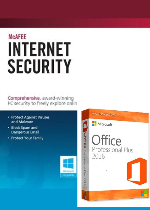 McAfee Antivirus 1 PC 1 YEAR Global+office 2016 pro plus