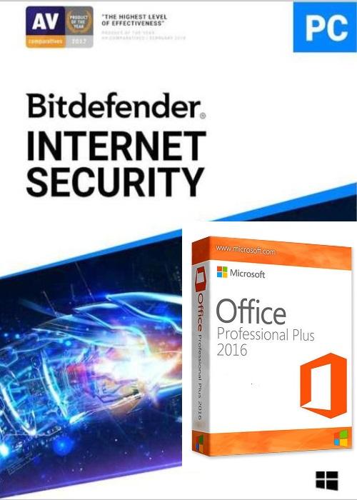 Bitdefender Internet Security 2020 1 PC 1 Year Key Global+office 2016 pro plus