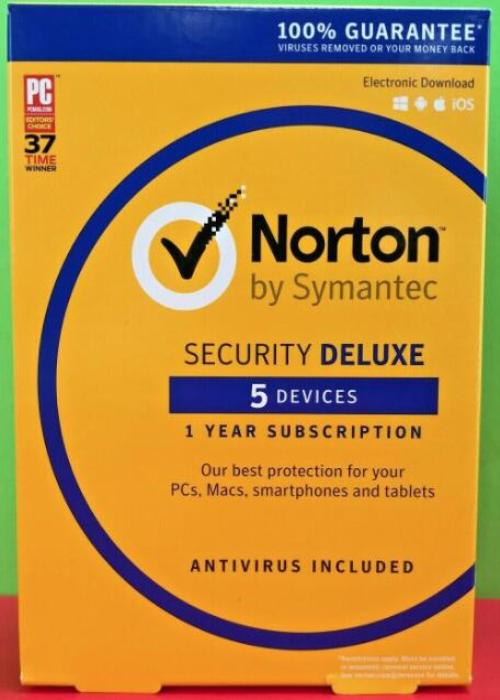 Norton Security Deluxe 5 PC 1 Year PKC BIL Key North America