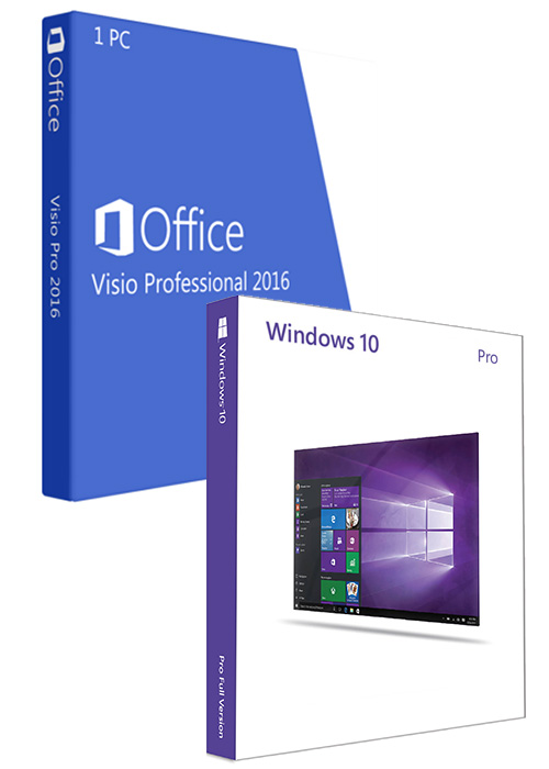 Windows10 Pro OEM + Visio Professional 2016 CD Keys Pack
