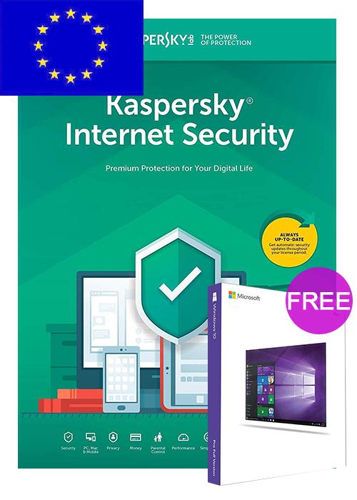 Kaspersky Internet Security 1 PC 1 YEAR EU(Windows 10 Pro OEM free)