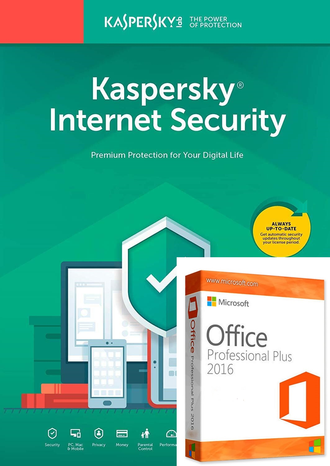 Kaspersky Internet Security 1 PC 1 Year Global Key+office 2016 pro plus