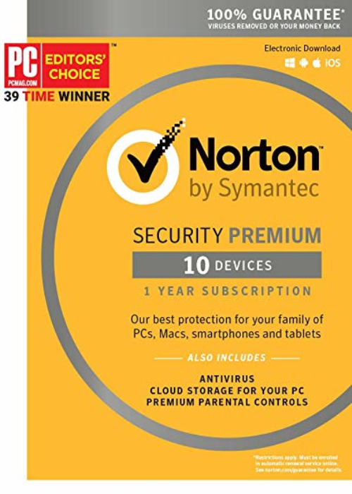 Norton Security Premium 10 PC/25GB Backup 1 Year Key North America